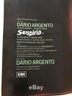 1977 Dario Argentos Suspiria UK Quad Original Movie Poster Linen Back