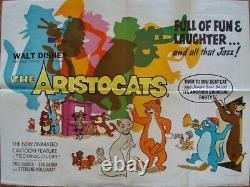 ARISTOCATS British Quad movie poster WALT DISNEY Vintage 1970 30x40 Rare