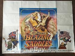 BLAZING SADDLES 1974 Original UK Quad Film Poster MEL BROOKS GENE WILDER
