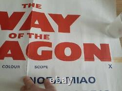 BRUCE LEE Original The Way of the Dragon Movie Quad Cinema Poster 1972