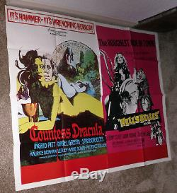 COUNTESS DRACULA/HELL'S BELLES original HAMMER quad movie poster INGRID PITT