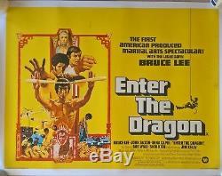 ENTER THE DRAGON BRUCE LEE. (1973 film). ORIGINAL UK Quad POSTER