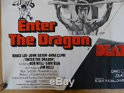 ENTER THE DRAGON / DEATH RACE 2000 (1975) original UK quad film/movie poster