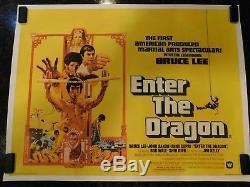 ENTER THE DRAGON Original Movie Poster, British Quad, C8.5 Very Fine/Near Mint