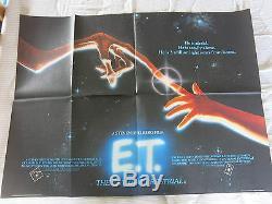 E. T THE EXTRA TERRESTRIAL 1982 Original UK Quad Film Poster STEPHEN SPIELBERG