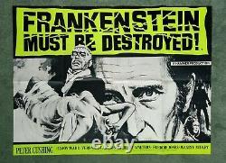 FRANKENSTEIN MUST BE DESTROYED (R1970s) original quad movie poster HAMMER HORROR