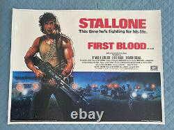 First Blood (Rambo) LINEN BACKED UK British Quad 1982 Original Film Poster withcer