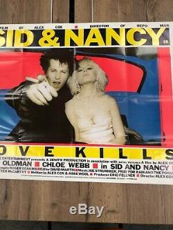 Framed Sex Pistols Sid & Nancy Love Kills Huge Rare Uk Quad Punk Movie Poster
