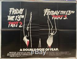 Friday 13th Parts 2 and 3 Original Double Bill UK Quad Film Poster (1983) Jason