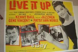 GENE VINCENT, HEINZ original 1963 UK quad poster for Live It Up movie 30x40
