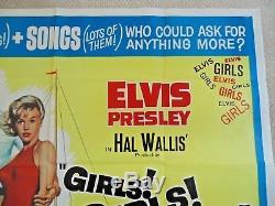 GIRLS GIRLS GIRLS ORIGINAL CINEMA UK QUAD MOVIE POSTER 1962 Elvis Presley RARE