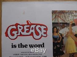 GREASE (1978) original UK quad film/movie poster, John Travolta, musical