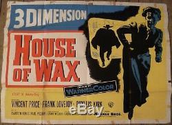 House of Wax original movie poster 1953 British UK Quad Vincent Price 3D