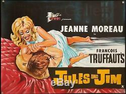 JULES & JIM 1962 unfolded UK Quad Francois Truffaut Jeanne Moreau FilmArtGallery