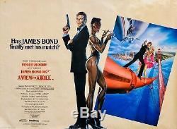 James Bond -a View To A Kill (1985)- Original Quad Roger Moore Film Movie Poster