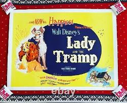 Lady And The Tramp Original UK Quad 1960s RR LINEN BACKED Disney Film Poster
