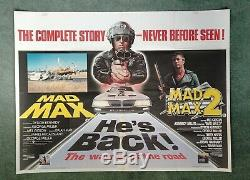 MAD MAX / MAD MAX 2 original UK quad d/b movie poster Mel Gibson Road Warrior