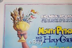 MONTY PYTHON AND THE HOLY GRAIL 1975 BRITISH QUAD LINEN BACKED MOVIE POSTER 50th