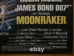 MOONRAKER (1979) original UK quad film/movie poster, James Bond 007, Roger Moore