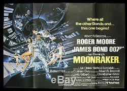 MOONRAKER Original 1979 British Quad 30x40 James Bond 007 Roger Moore