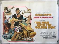 Man with the Golden Gun, James Bond, Original 1974 Quad Linen Film Movie Poster