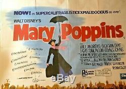 Mary Poppins Original Quad Movie Poster Walt Disney Julie Andrews 1964