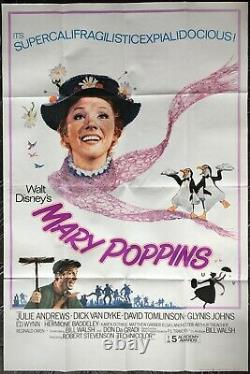Mary Poppins Original UK Double Quad Movie Poster Julie Andrews Walt Disney RR