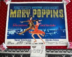Mary Poppins Original UK Quad LINEN BACKED 1964 Disney Julie Andrews Film Poster