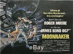 Moonraker Original Movie Quad Poster 1979 James Bond 007 Roger Moore Dan Goozee