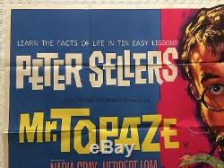 Mr Topaze 1961 Original UK Movie Quad Poster Peter Sellers, Tom Chantrell Art