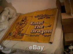 Original ENTER THE DRAGON film poster, 1973, UK Quad, restoration project, Lee