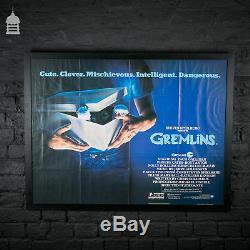 Original GREMLINS Quad Movie Poster in Black Frame