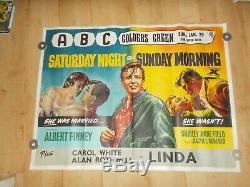 Original Saturday Night And Sunday Morning Uk Quad 1961 Film Stafford Poster