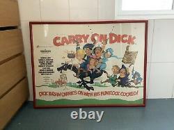 Original Vintage'Carry on Dick' British quad movie poster, 1974, framed