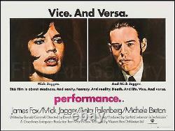 PERFORMANCE 1970 UK Quad poster on linen Mick Jagger Nicolas Roeg FilmArtGallery