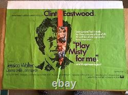 PLAY MISTY FOR ME Original UK Quad Film Poster 30x40 Clint Eastwood 1971