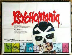 PSYCHOMANIA original 1973 UK quad movie poster Cult Biker Gang Zombie Horror
