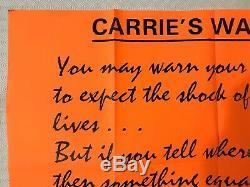 Rare Carrie Warning style Original Movie Quad Poster 1976 Sissy Spacek