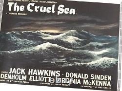 Rare Linen-Backed Style-A British Quad Movie Film Poster The Cruel Sea 1953