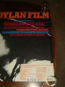 Rare Vintage THE BOB DYLAN FILM RENALDO & CLARA 1978 UK Quad POSTER