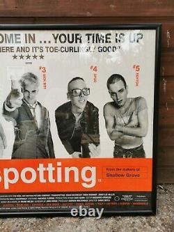 Rare original 1996 Trainspotting cinema film quad framed poster