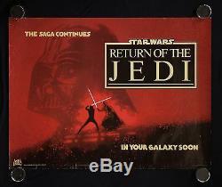 Return Of The Jedi Rare 1983 British Quad Movie Poster Rolled