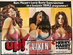 Russ Meyer Original Uk Quad Film Poster Triple Bill Vixen Up Herry Harry Raquel