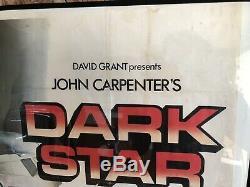 SIGNED JOHN CARPENTER Original Folded 1974 DARK STAR UK Quad Movie POSTER Sci-Fi