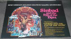 SINBAD AND THE EYE OF THE TIGER original rare quad movie poster RAY HARRYHAUSEN