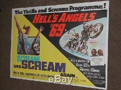 Scream And Scream Again/Hell's Angels'69 1969 UK Quad Film Poster