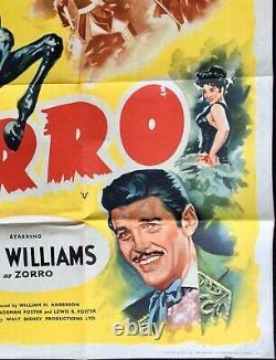 Sign of Zorro Original Quad Movie Poster Guy Williams Walt Disney 1958