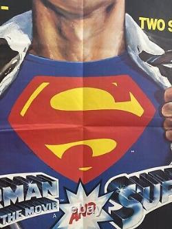 Superman The Movie & Superman II Original Film Poster UK Quad 30x40 1981 Reeve