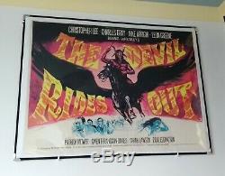 THE DEVIL RIDES OUT (1968) original UK quad movie poster LinenBd HAMMER HORROR