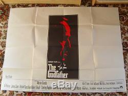 THE GODFATHER Original UK Crown Quad movie Poster 1972 BRANDO Classic film